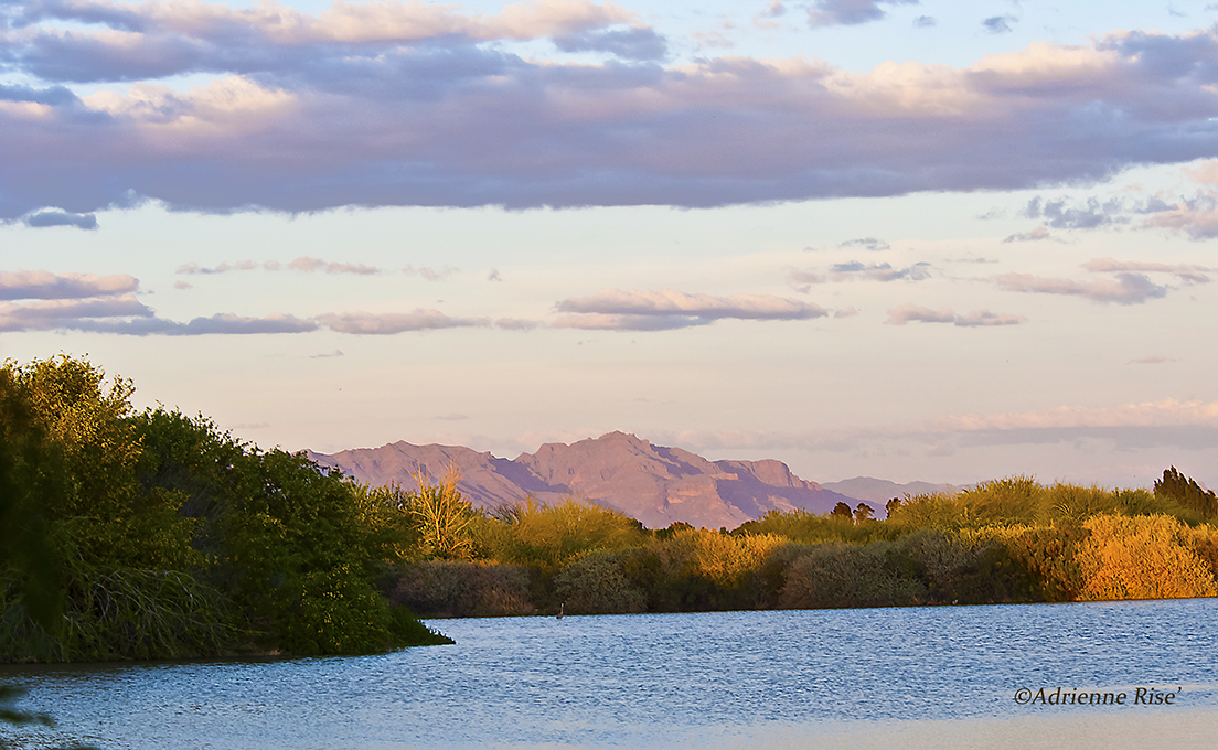 Superstitions mountains at sunset.