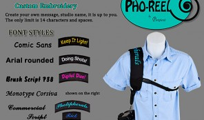 composite image of camera shoulderstrap and available colors & fonts for embroidery