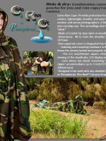 Composite image of Camo Rain Cape with logo, description, photographer in landscape