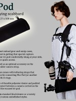 Tripod padded carrying case called Pho-Pod worn with Pho-Reel Plus camera shoulder strap